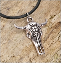 Ethno necklace, costume jewellery chain - Boho cow skull