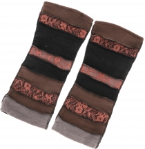 Goa, Psytrance leg warmers, gauntlets - black/brown