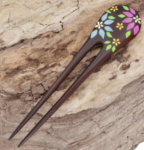 Wooden hair clip, hairpin - flowers