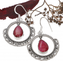 Decorated silver earring - Ruby quartz
