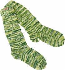 Hand knitted sheep wool socks, house socks, Nepal socks - green