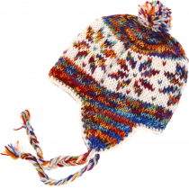 Woollen cap with earflaps, Nepal cap - white/multicoloured