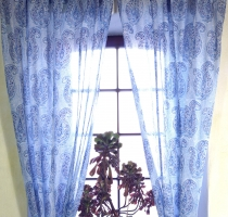 Boho curtains, curtain (1 pair ) with loops, slightly transparent..