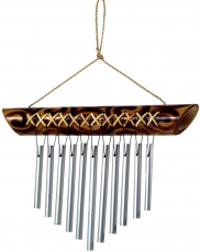 Aluminium sound chime, exotic wind chime made of bamboo 25 cm - V..