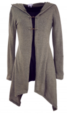 Long cardigan, knitted coat with wide hood - khaki