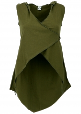 Changing top with elfin hood, Psytrance Festival Pixi Top - olive..