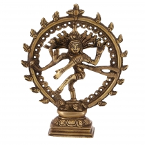 Brass figure, statue Shiva in a fire wreath 17 cm - motif 11