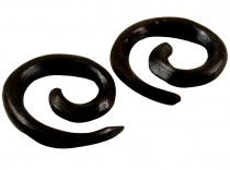 Tribal wooden earring, wooden spiral, plug