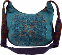 Ethno Shoulder Bag, BohoBag Mandala, Nepal Bag - petrol