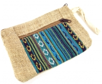 Ethno hemp cosmetic bag - petrol