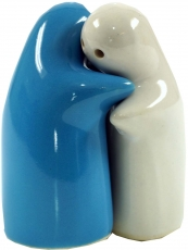 Ceramic pepper and salt shaker `Lovers`- white/turquoise