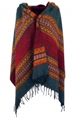 Soft Pashmina scarf/stole, shawl, plaid - Inca pattern red/grey