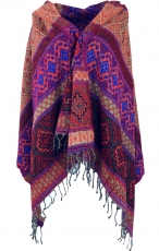 Soft pashmina scarf/stole, shawl - Inca pattern red/blue