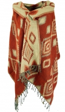 Soft pashmina scarf/stole, shawl - Inca pattern rusty orange