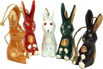 set of 5 pendants, small wooden figure, animal figure rabbit
