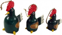 Set of 3 pendants, Small wooden figure, animal figure cock - gree..