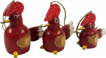 Set of 3 pendants, Small wooden figure, animal figure cock - red