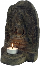 Mini temple, Buddha figure, stone tealight holder