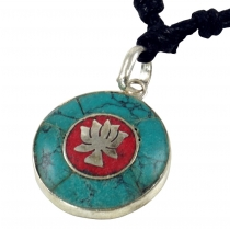 Tibet necklace, Nepalese jewellery, Amulet turquoise - Lotus