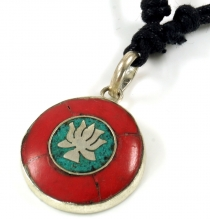 Tibet necklace, Nepalese jewellery, amulet coral - Lotus