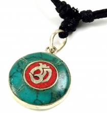 Tibet necklace, Nepalese jewellery, Amulet turquoise - OM