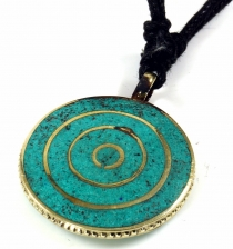Tibet necklace, Nepalese jewellery, amulet with spiral - Turquois..