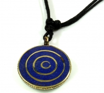 Tibet necklace, Nepalese jewellery, amulet with spiral - Lapis/Tu..