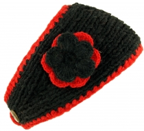 Wool-knit browband with flower - dark black