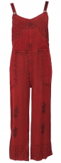 Dungarees, boho pants, embroidered overall - red