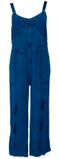 Dungarees, boho pants, embroidered overall - denim blue