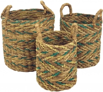Water hyacinth storage basket in 3 sizes - natural/green