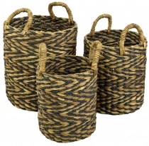 Water hyacinth storage basket in 3 sizes - natural/black