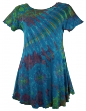 Batik mini dress, batik dress, boho tunic - petrol