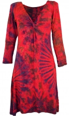 Batik mini dress, knee length boho batik dress - raspberry red