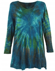 Batik mini dress, long sleeve boho tunic, batik dress - petrol