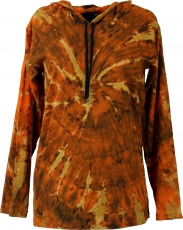 Batik Shirt, Goa Tie Dye long sleeve shirt - rusty orange