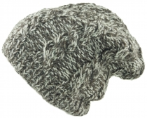 Beanie cap, knitted cap with plait pattern - mottled
