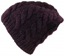 Beanie cap, knitted cap with plait pattern - plum