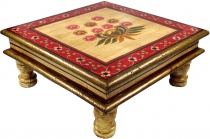 Painted small table, mini table, flower bench - Flower yellow/red