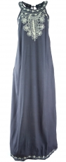 Long Boho summer dress, indian maxi dress - blue-grey