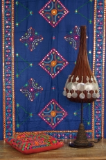 Embroidered shawl with mirror, wall cloth, pareo - blue
