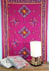 Embroidered shawl with mirror, wall cloth, pareo - pink