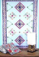 Embroidered shawl with mirror, wall cloth, unique Pareo - white