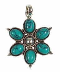 Ethno Blossoms Silver Pendants, Indian Boho Pendant - Turquoise
