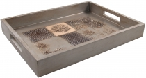 Wooden tray with patchwork pattern