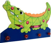 Colourful children`s wardrobe wall hook - crocodile