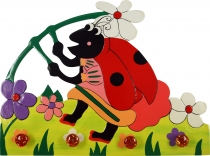 Colourful children`s wardrobe wall hook - ladybird