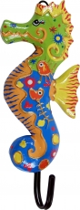 Colorful wooden coat hook, wall hook, coat hook - Seahorse