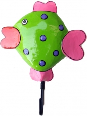 Colourful wooden coat hook, wall hook, coat hook - fish green