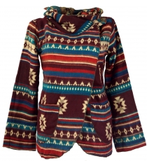 Cape, Boho wrap jacket Inka pattern - wine/colorful